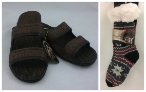 Collage of Pali Hawaiian Shoes and Thermal Knit Slipper Socks | CoppinsGifts.com